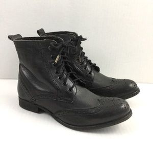 H By Hudson Black Leather Ankle Boots Lace Up